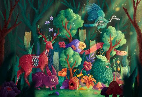 A ilustração da natureza dos animais está fora