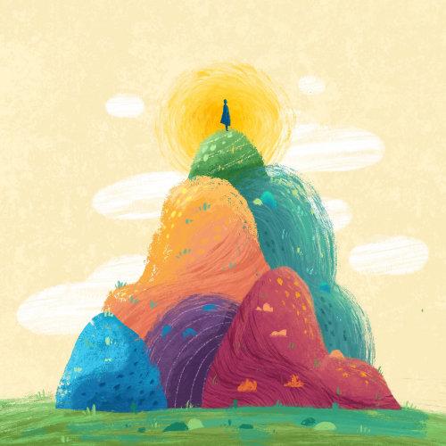 Illustration de la nature des collines arc-en-ciel