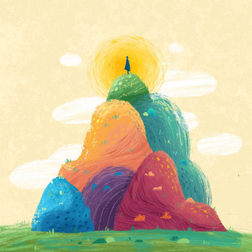 Nature illustration of rainbow hills