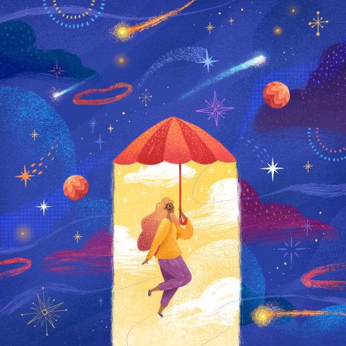 Femme conceptuelle volant avec parapluie