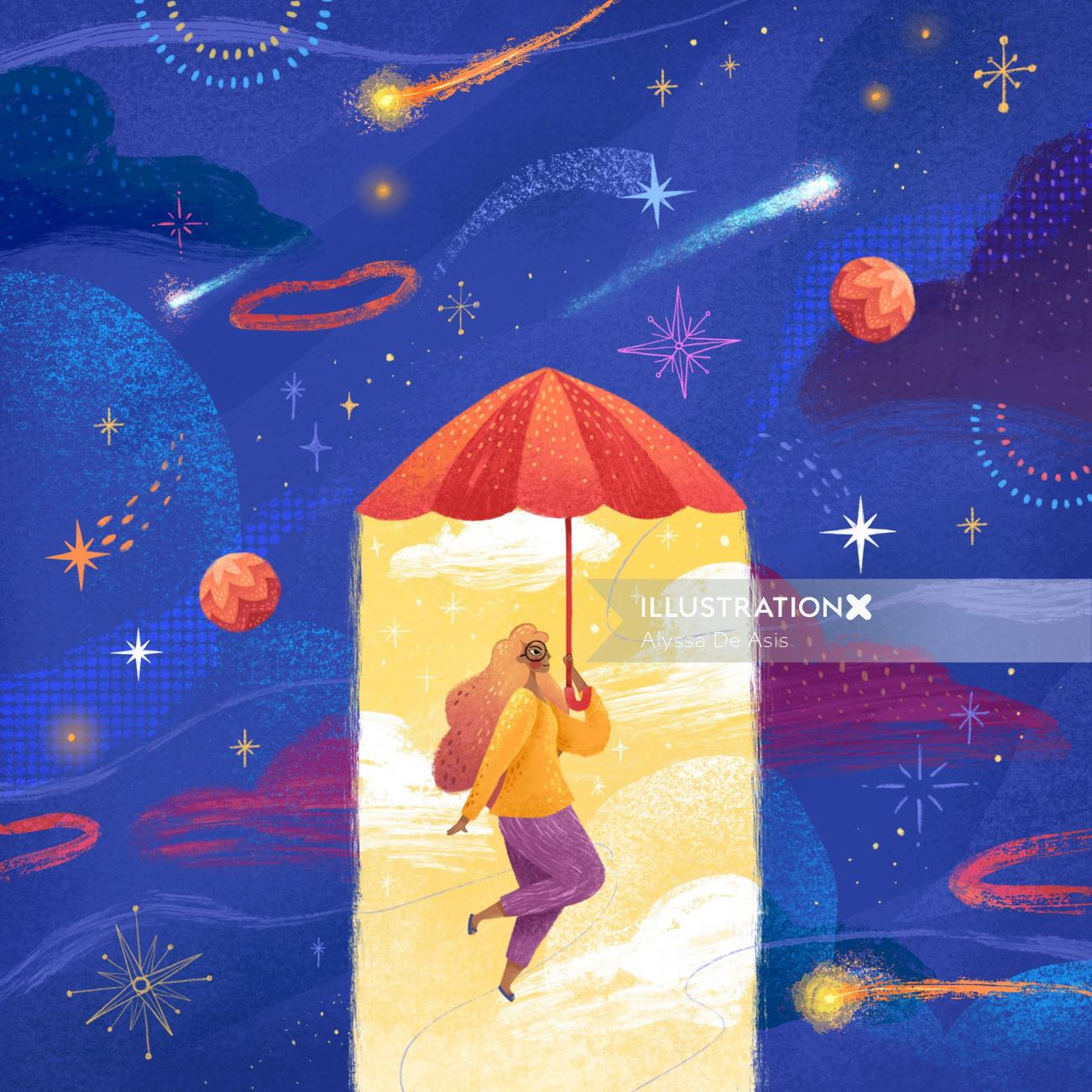 Conceptual woman flying with umbrella
