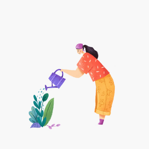 Nature animation of gardener watering her plants