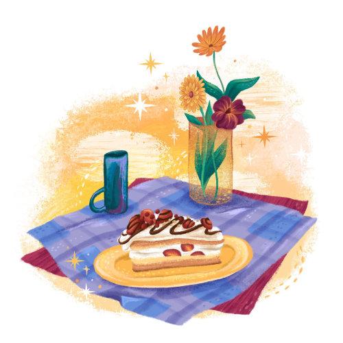 Tranche de gâteau éditorial au restaurant