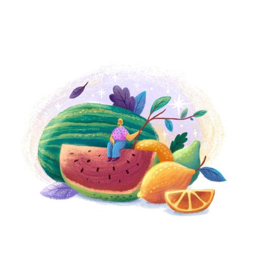 Editorial of watermelon art
