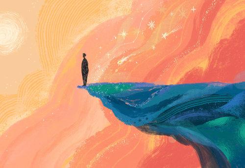 Fantaisie de l'homme debout sur la falaise
