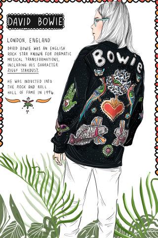 music, bowie, fashion, gucci, luxury, minimal, black, white, line, ink, color, plant