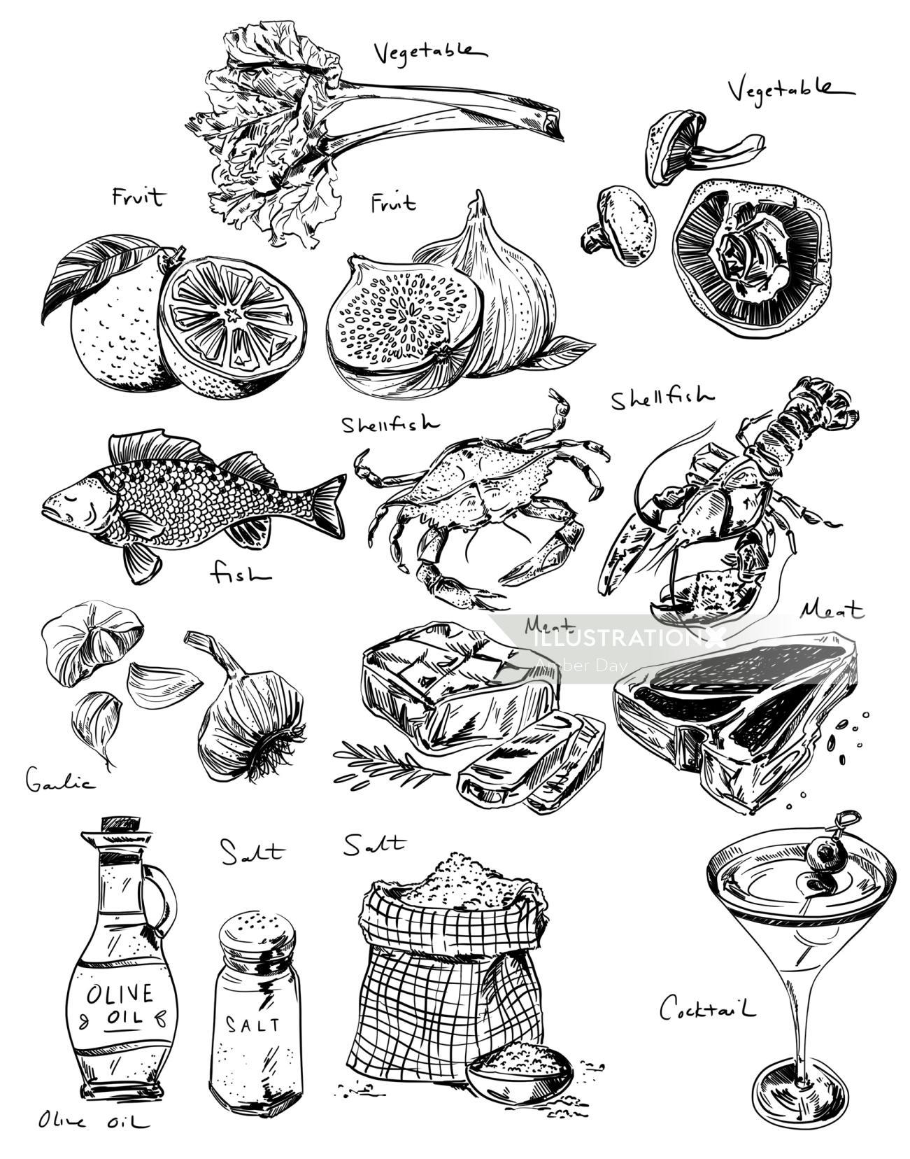 black, line, sketch, food, culinary, flat, steak, fish, vegetable, beverage, white, simple, minimal