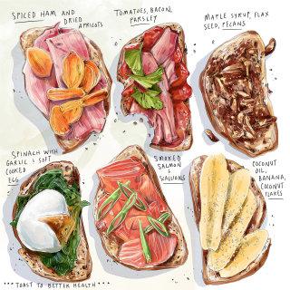 toast, recipe, health, breakfast, wellness, culinary, food, watercolor