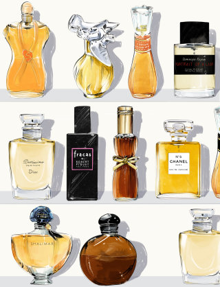 Watercolour sketch of perfume bottles