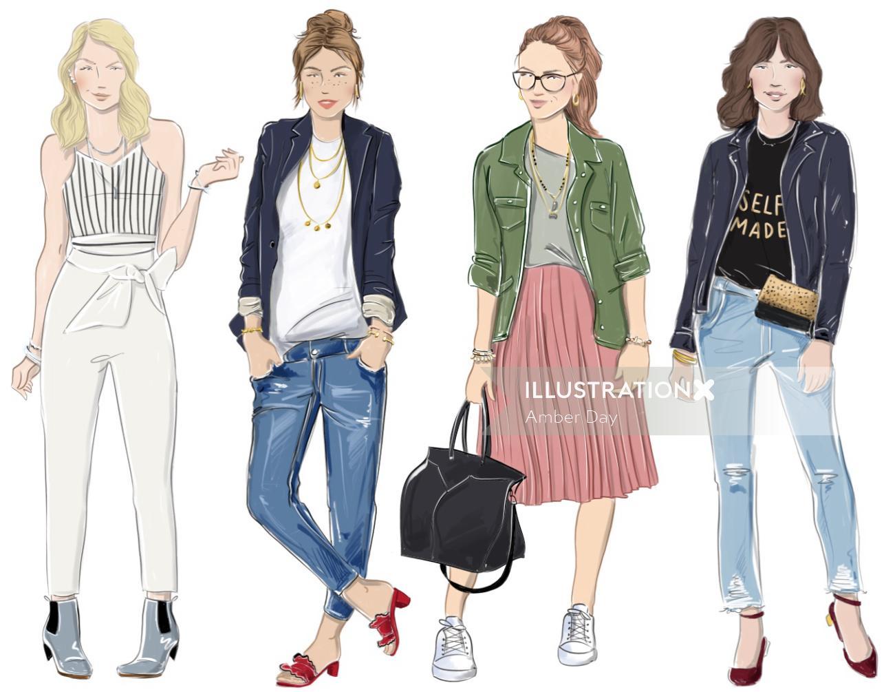 women, fashion, illustration