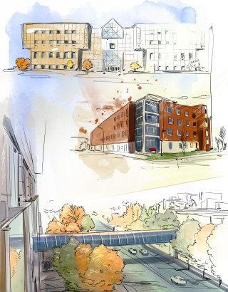 watercolor, exterior, building