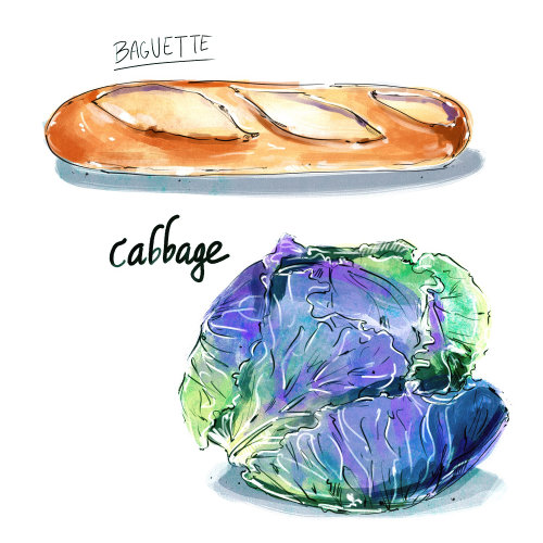 food, culinary, watercolor, ink, loose, wash, bread, vegetable, produce