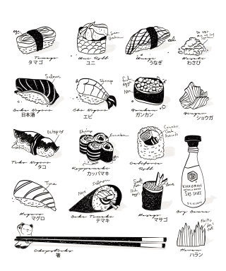 sushi, culinary, black, minimal, asian