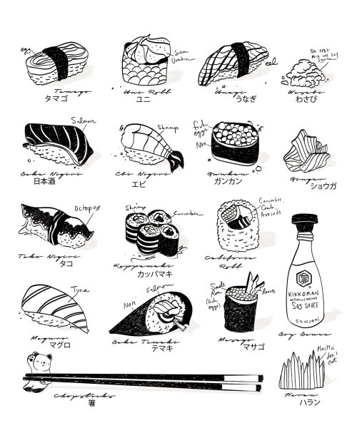 sushi, culinaire, noir, minimal, asiatique