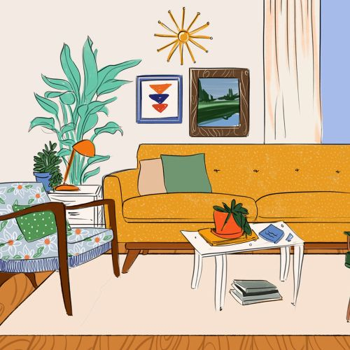 Hand drawn illustration of home interiors