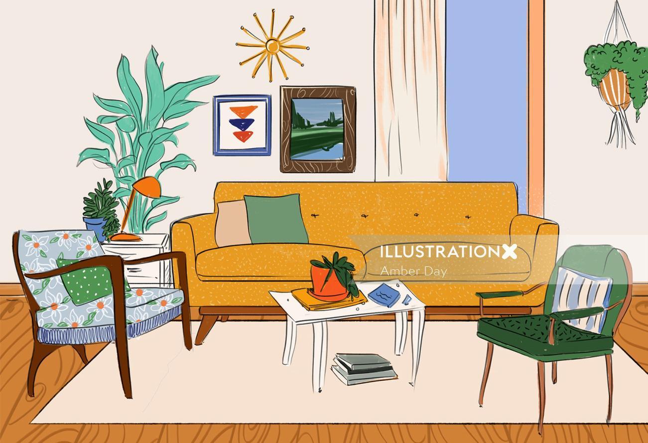 Hand drawn illustration of home interiors