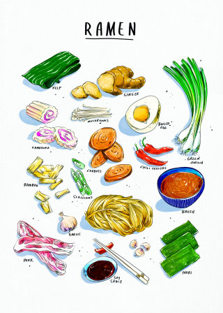 exotic, cuisine, food, asian, culinary, illustration