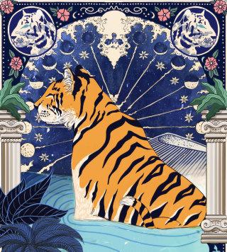 wildlife, scarf, print, astrology, moon, stars, tiger, plant