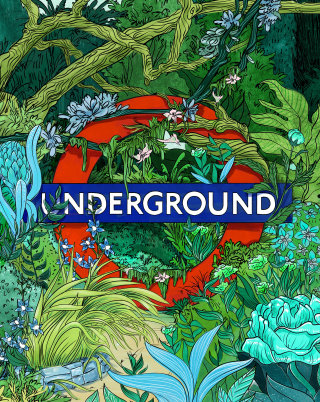 london, subway, jungle, color, green, plants, wild, line, logo, poster