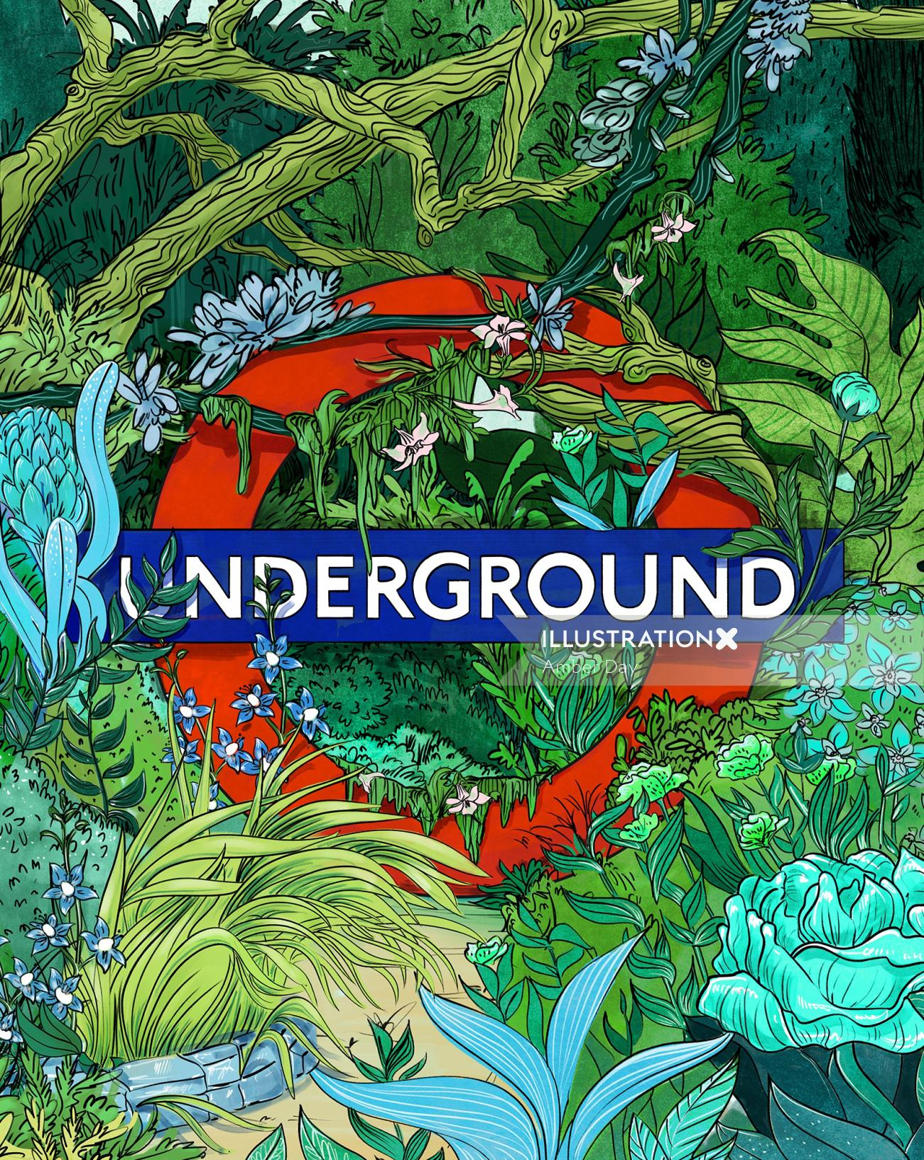 london, subway, jungle, color, green, plants, wild, line, logo, poster