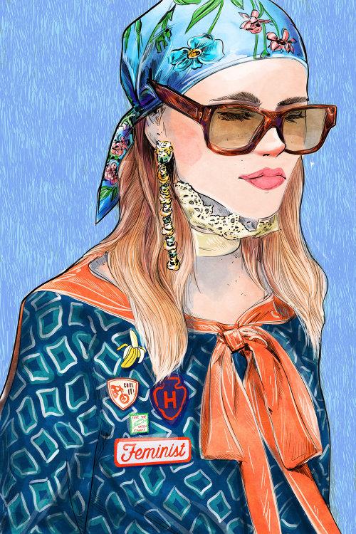 high fashion, runway, feminist, millennial, patches, scarf, eyewear, glasses, accessories, pins, bri
