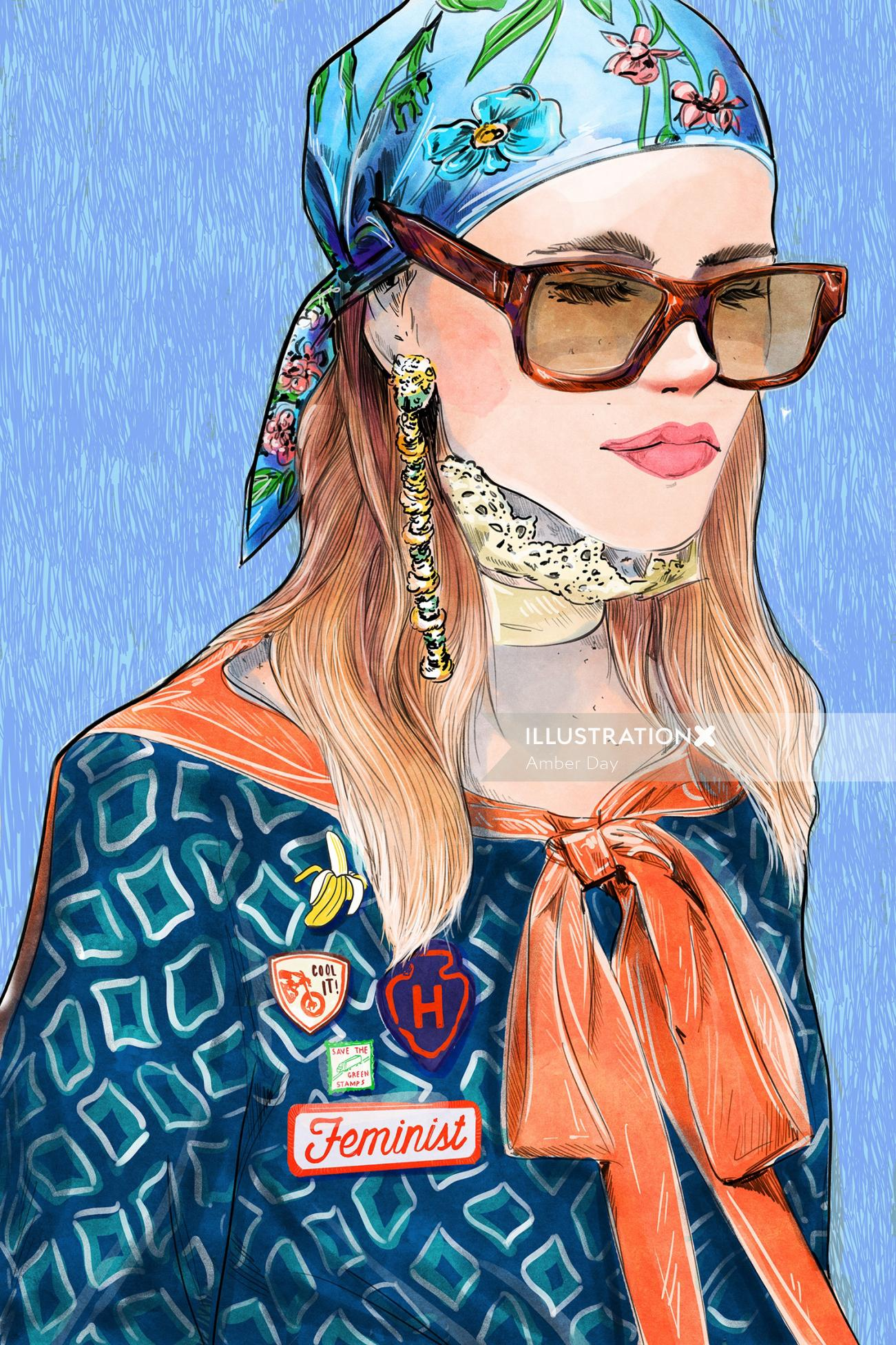 high fashion, runway, feminist, millennial, patches, scarf, eyewear, glasses, accessories, pins, bri