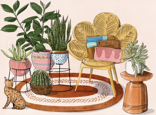Illustration of plants in house