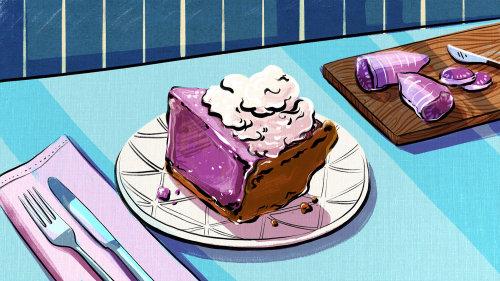 bright, fun, bold, colorful, inspirational, happy, pie, purple, dessert, culinary, luxurious, potato