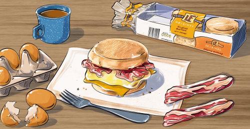 明亮,有趣,大胆,多彩,鼓舞人心,快乐,早餐,三明治,松饼,培根,鸡蛋,咖啡,