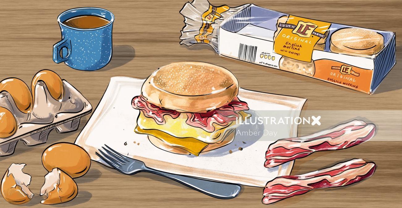 bright, fun, bold, colorful, inspirational, happy, breakfast, sandwich, muffin, bacon, egg, coffee,