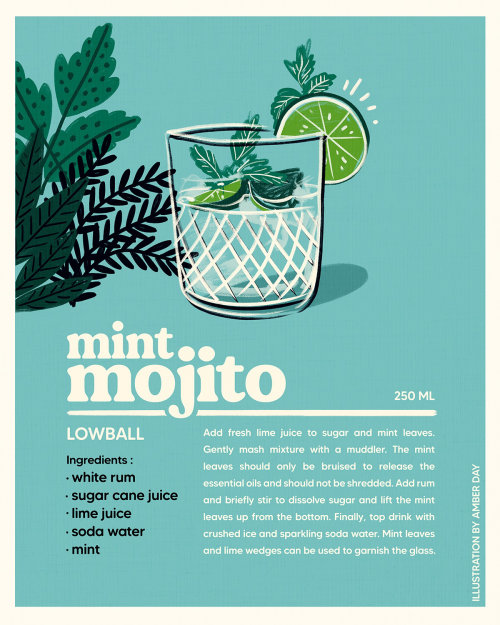 cocktail, infographic, lime, midcentury, 60s, mojito, mint, beverage, bright, inspirational, bold, e