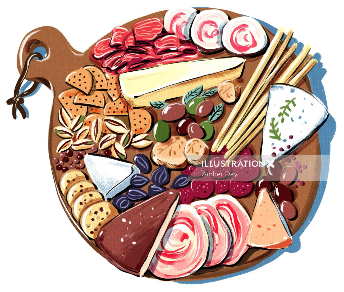 charcuterie, cheese, meat, ham, olives, crackers, tapas, culinary, snack, bologna, fig, bright, insp