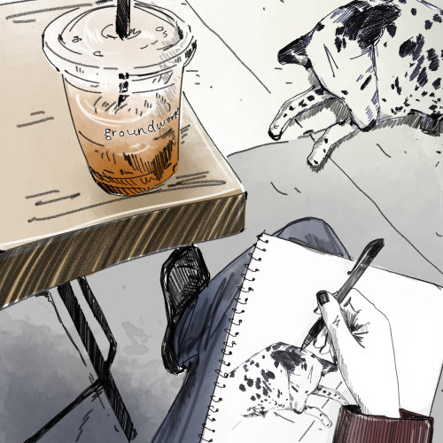 sketch, loose, dog, pet, coffee