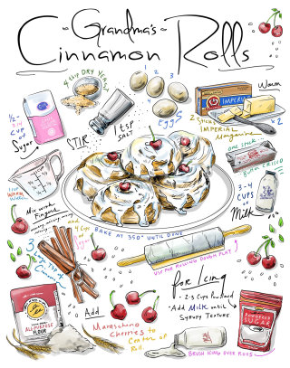 recipe, sweets, cinnamon, dessert, cooking, poster, culinary, food, home, family