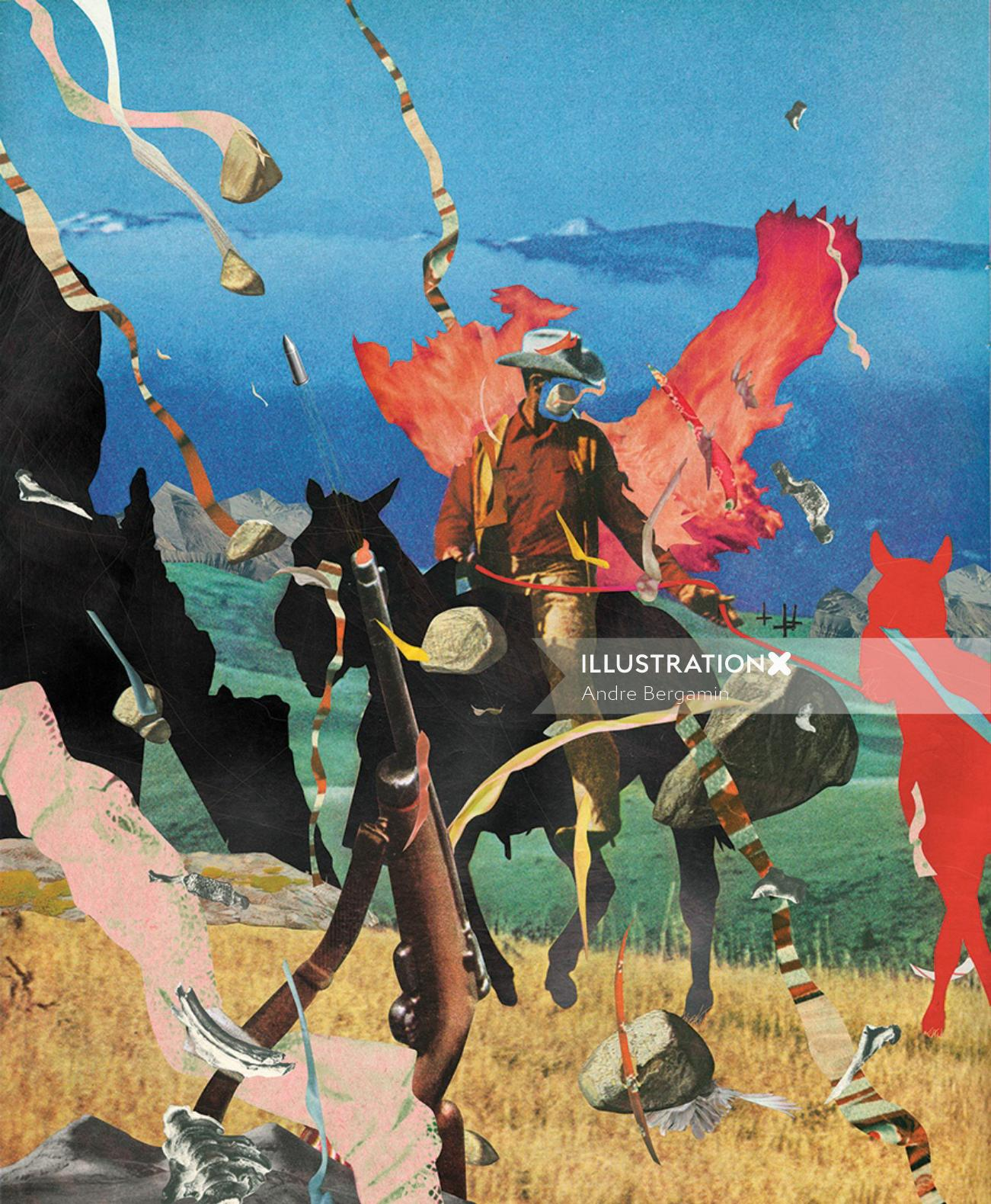 cowboy on horse illustration by Andre Bergamin