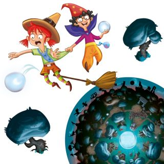 Character illustration of witch kids flying