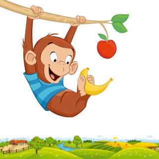 Cartoon monkey holding banana