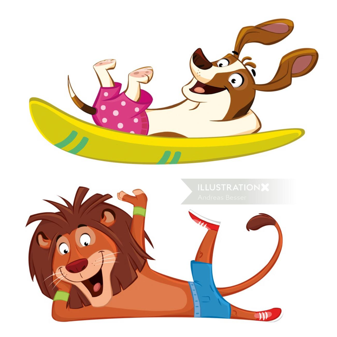 Animals character design by cartoon illustrator
