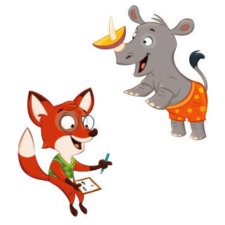 Character illustration of funny Rhinoceros and Fox