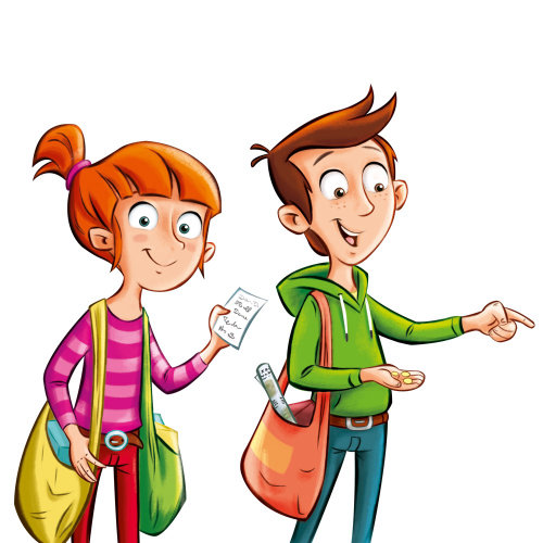 Character design of boy and girl