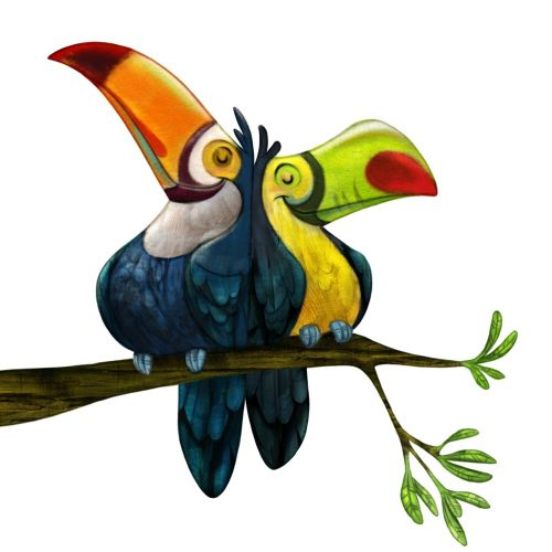 Love birds on tree branch cartoon