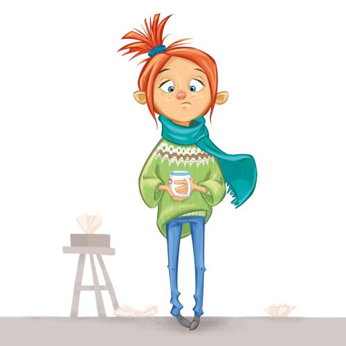 Girl cartoon character with coffee cup