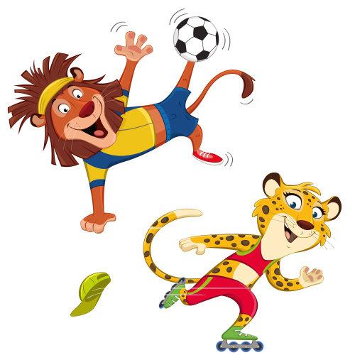 卡通狮子和猎豹