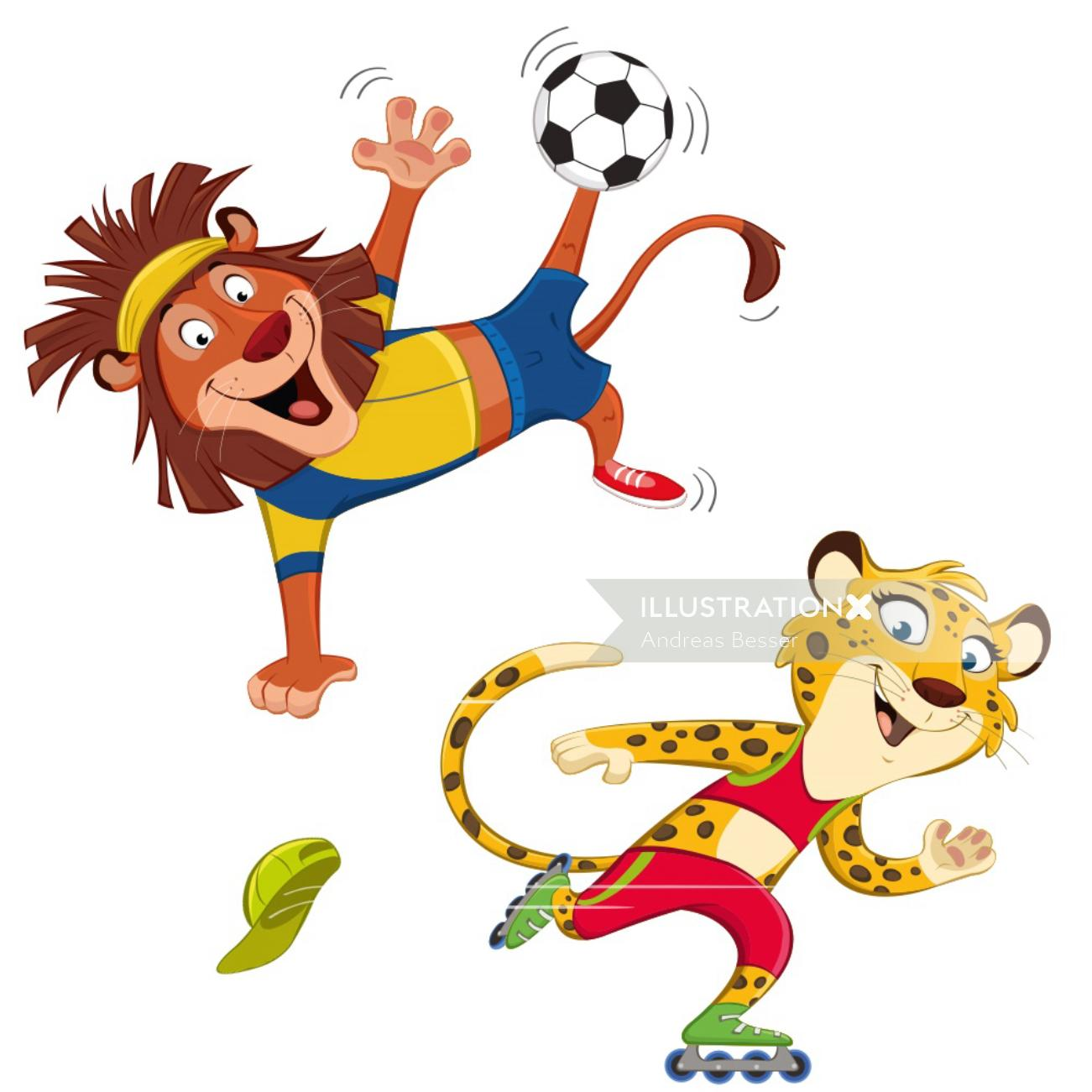 Cartoon Lion And Cheetah