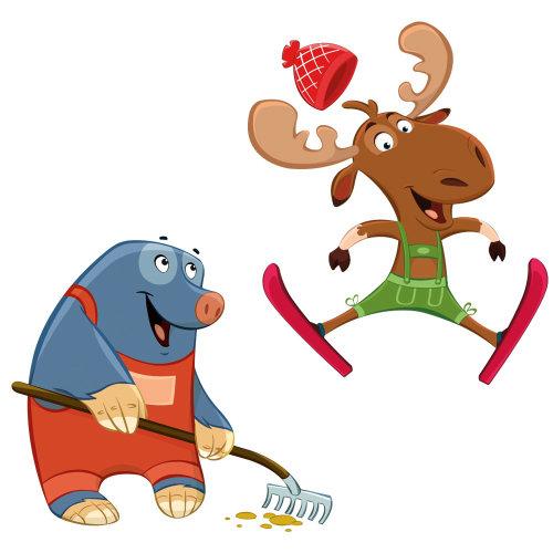 猪和鹿的卡通插图
