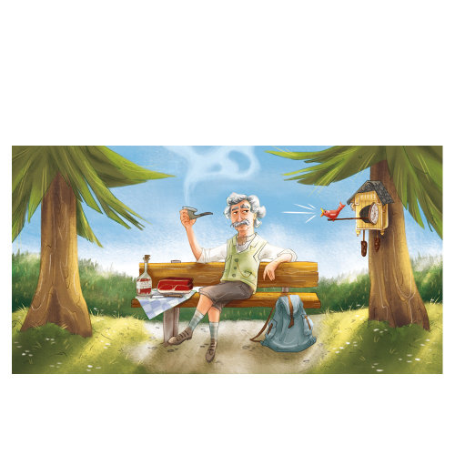 Character illustration of man with a bird