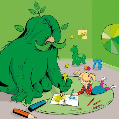 怪物和女孩绘画的儿童角色设计
