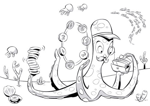 Line illustration of octopus playing