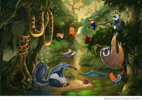cartoon animals in forest