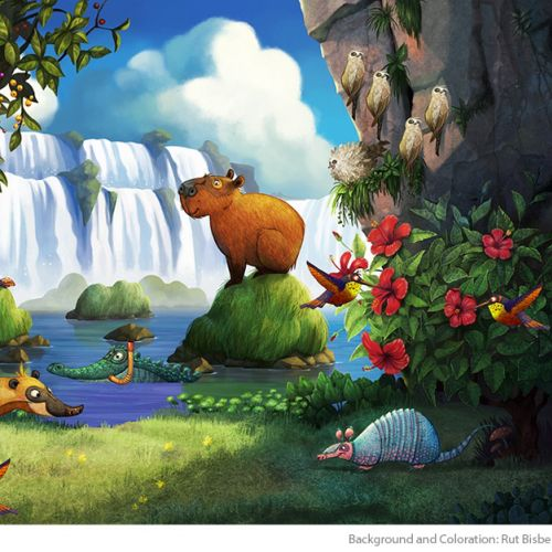 Cartoon of animals enjoying nature